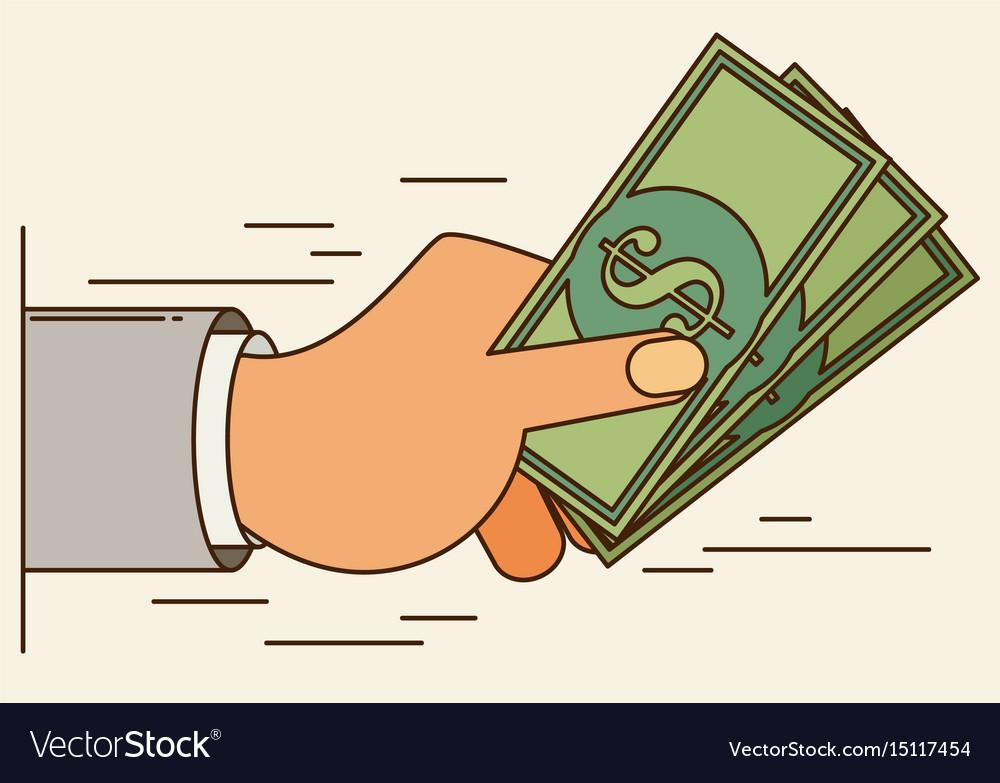 Hands holding money bills flat style