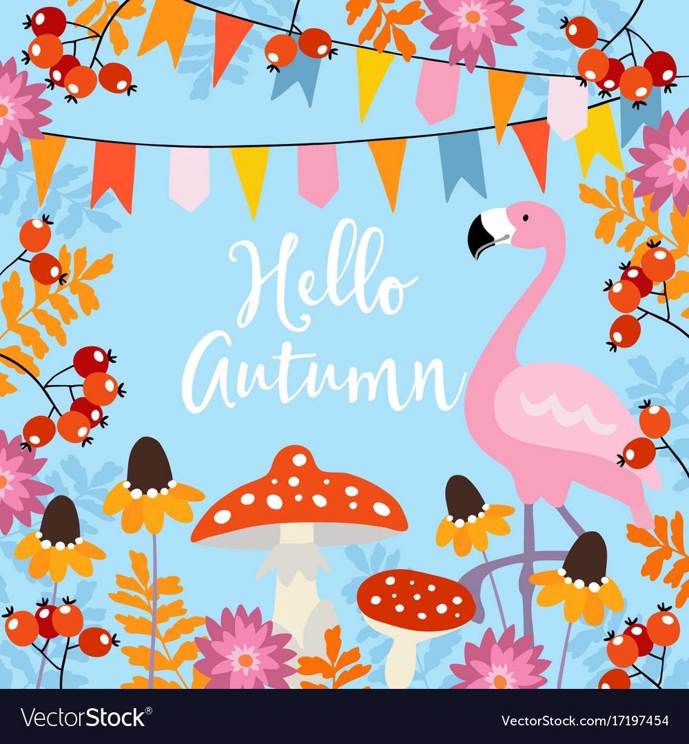 Hello autumn greeting card with hand drawn leaves