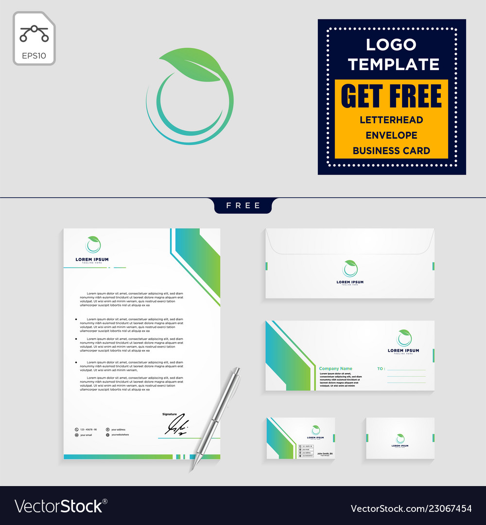 Leaf eco fitness logo template and stationery
