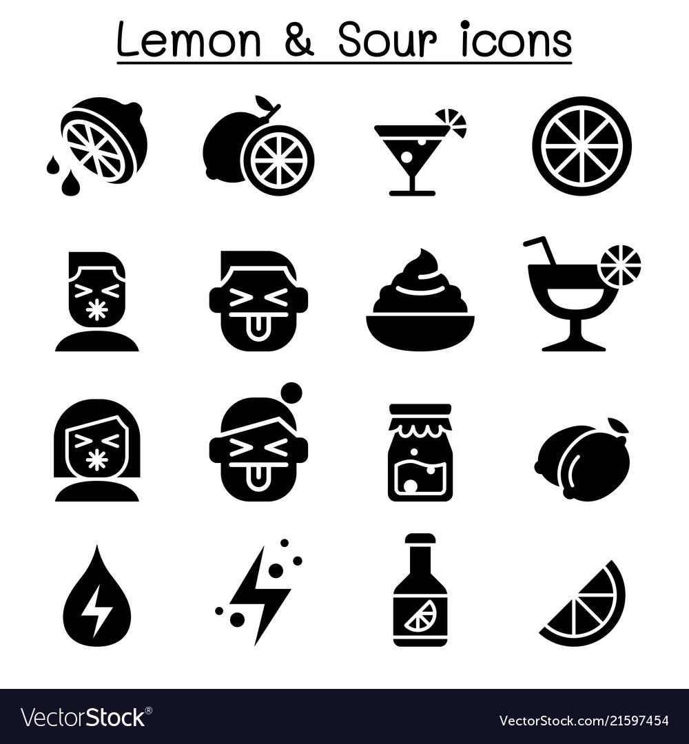 Lemon sour icon set