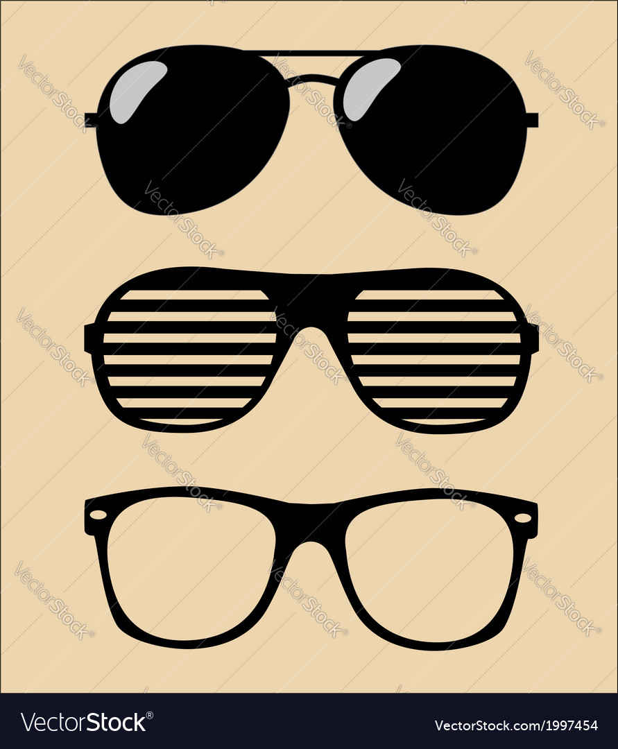 Set of sunglasses background vector image
