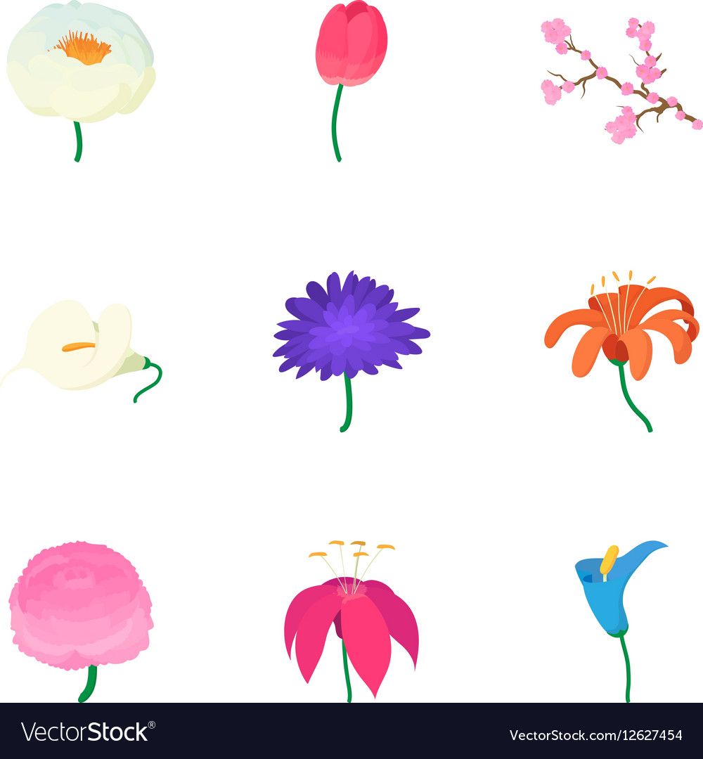 Spring Flowers Icons Set Cartoon Style Royalty Free Vector