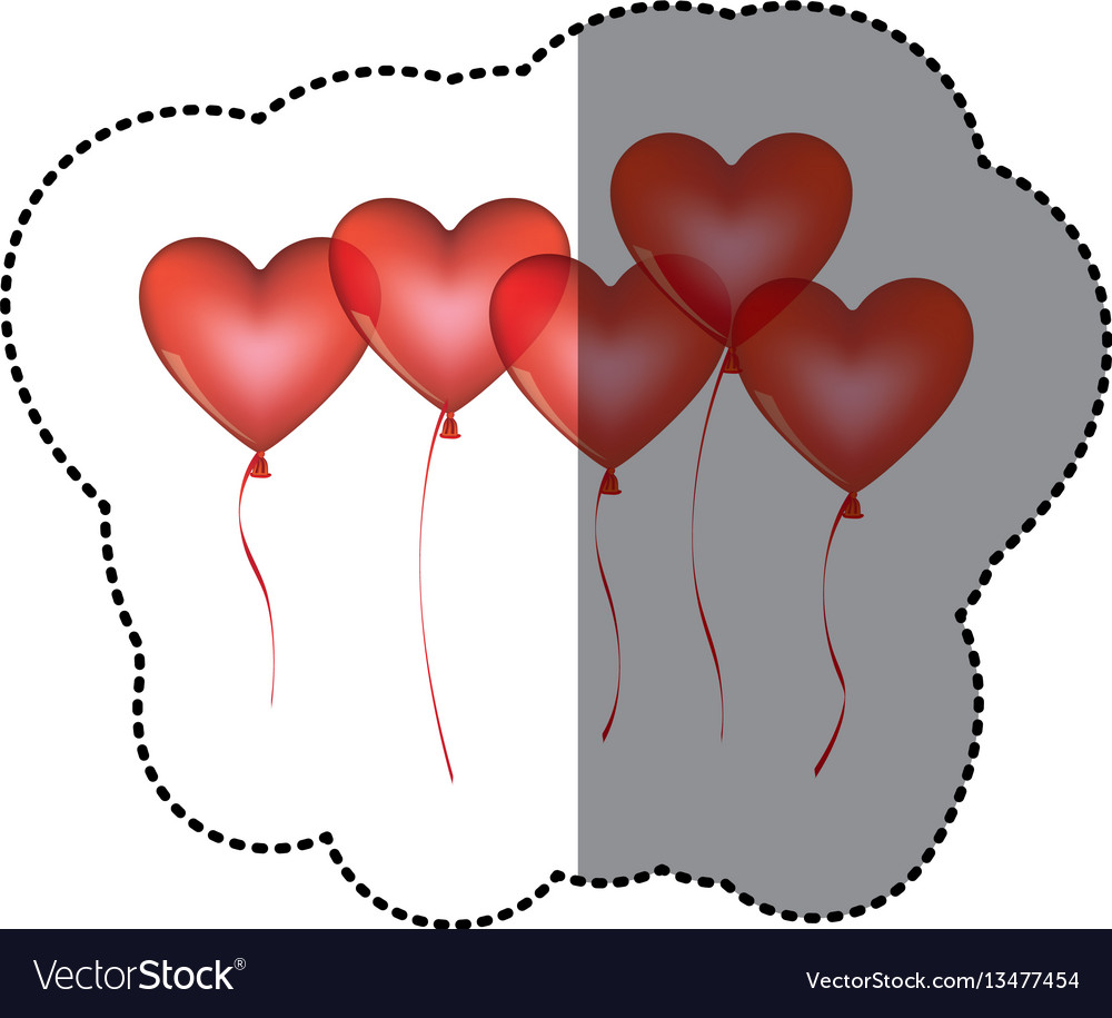 Sticker shading colorful bunch romantic balloons vector image