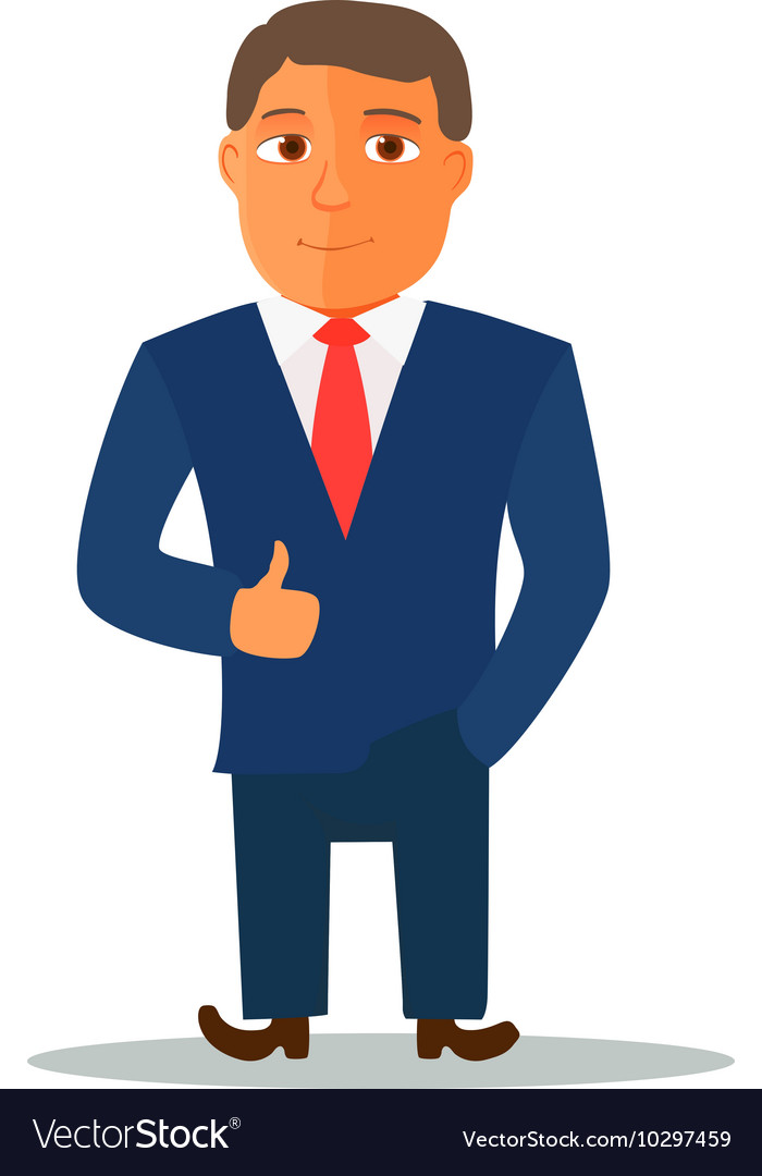 businessman cartoon character in blue suit vector image rh vectorstock com businessman cartoon businessman cartoon character