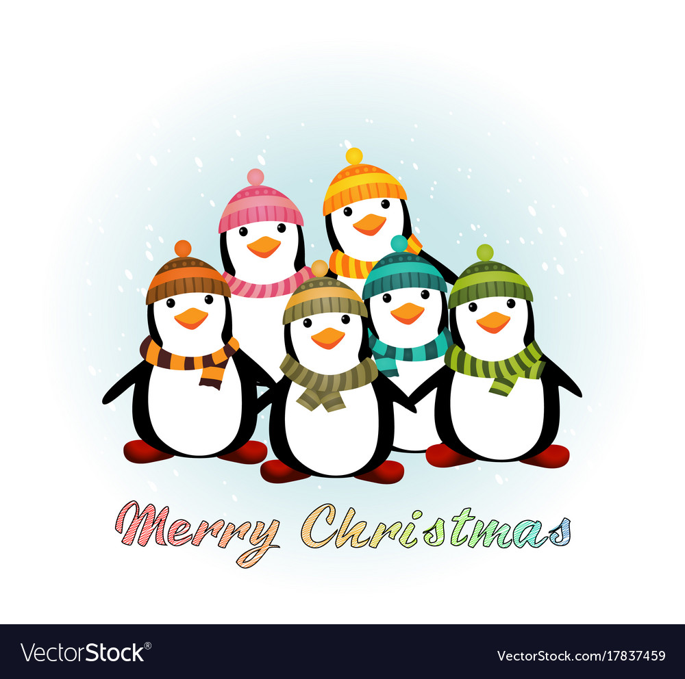 Christmas card with penguins