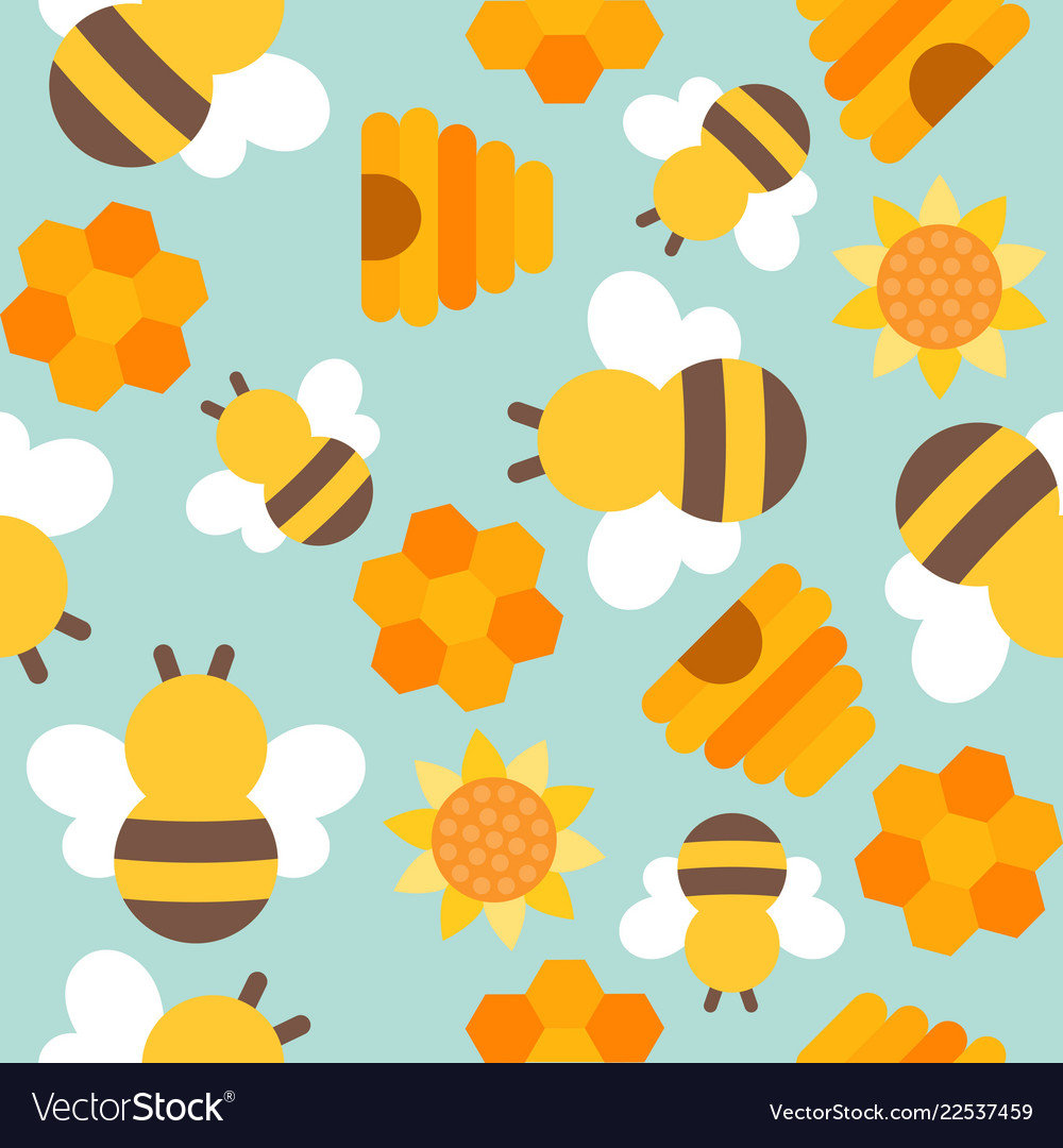 Cute Bee Seamless Pattern For Wallpaper Or