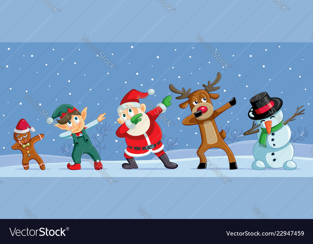 Funny Christmas Images.Dabbing Christmas Cartoon Characters Funny Banner