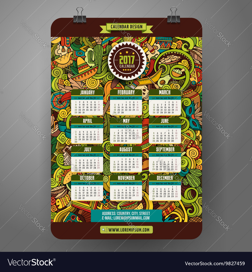 Doodles cartoon Latin American Calendar 2017 year