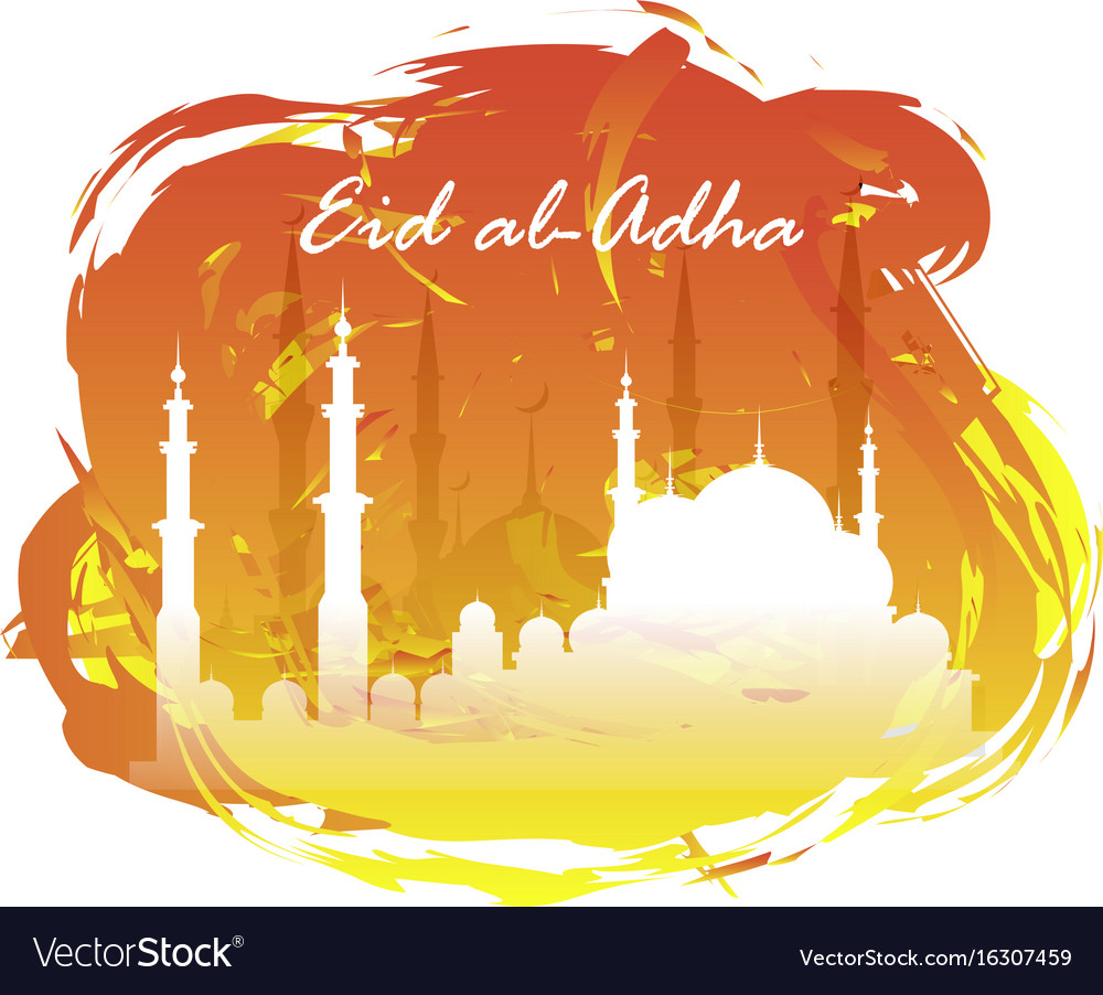 Eid al adha lettering composition of moslim holy