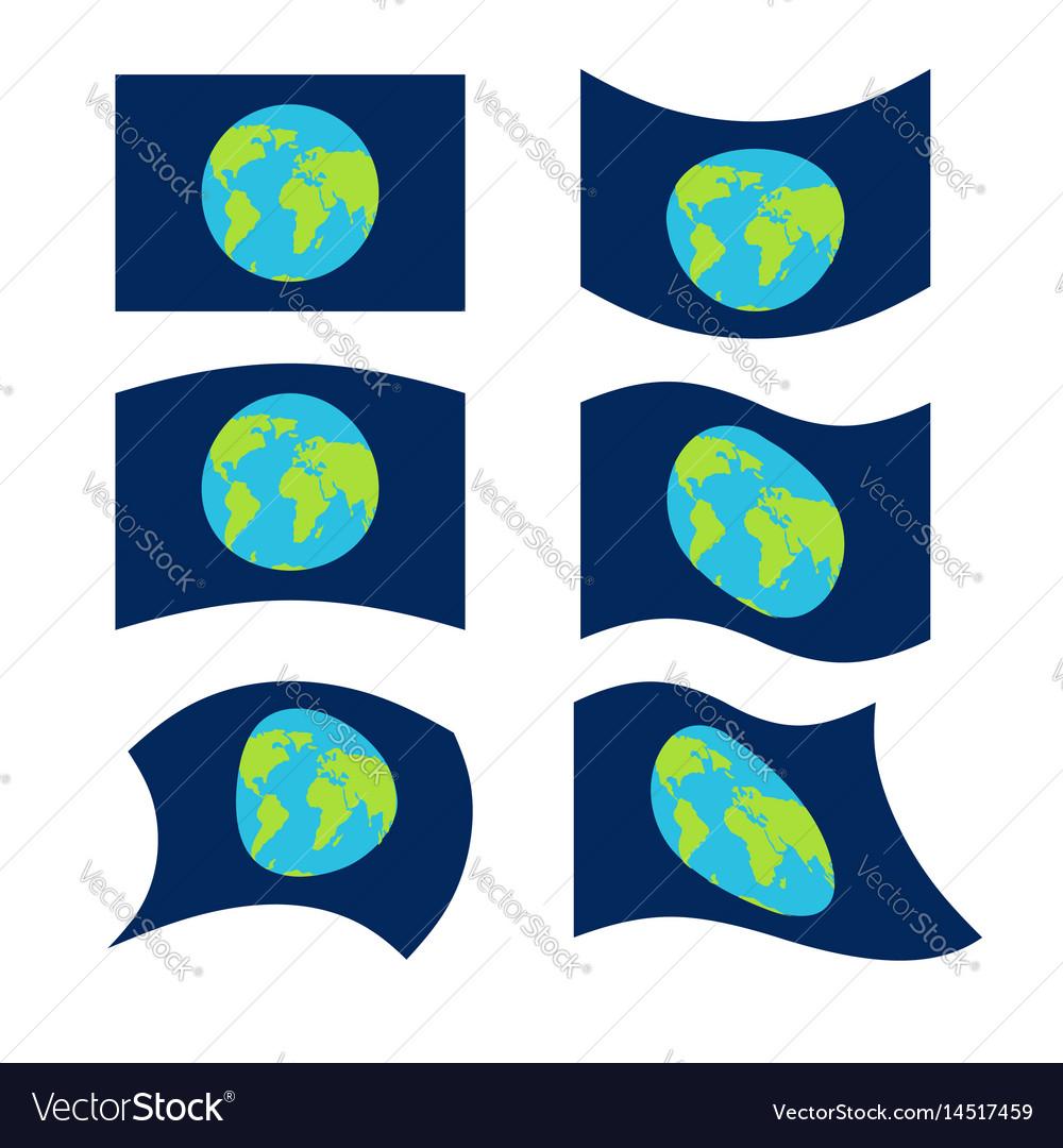 Flag planet earth set official national symbol vector image