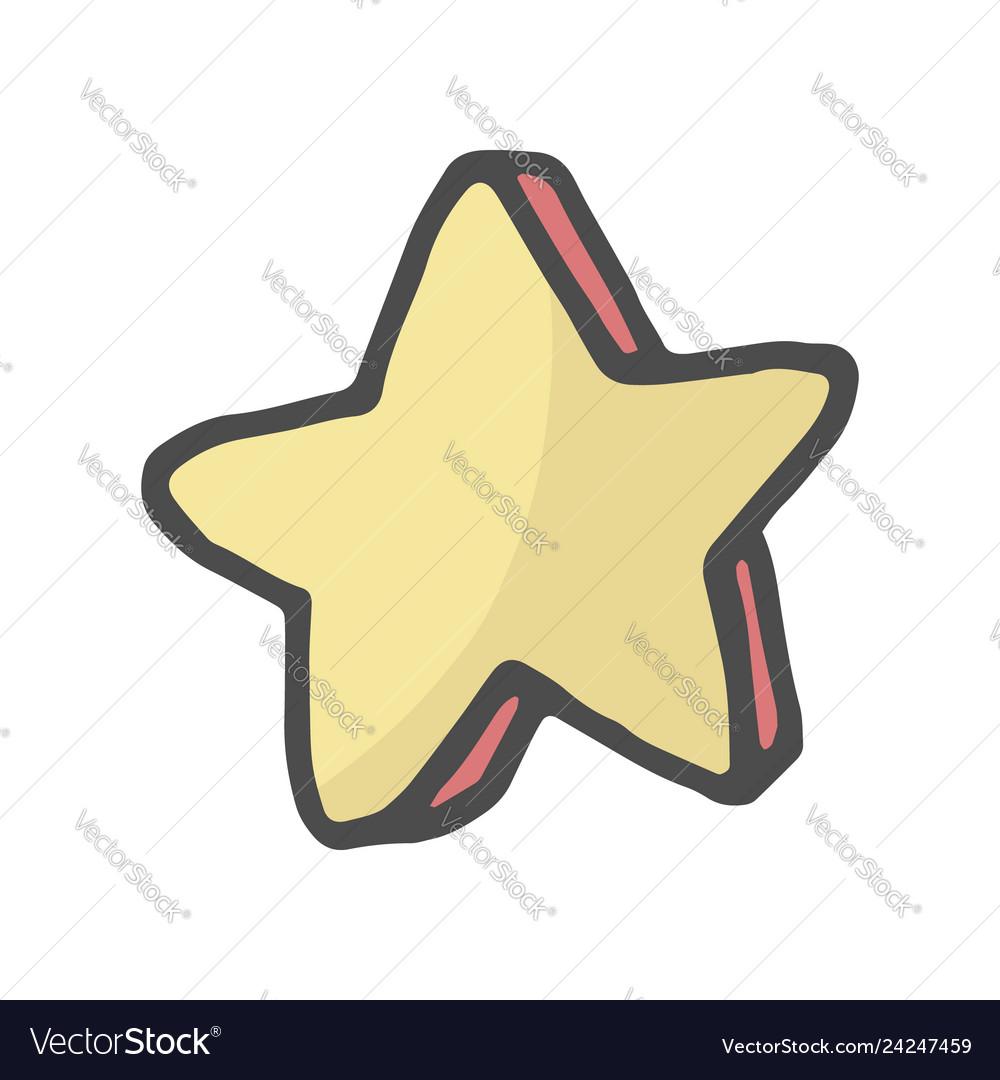 Freehand drawn cartoon color decorative stars