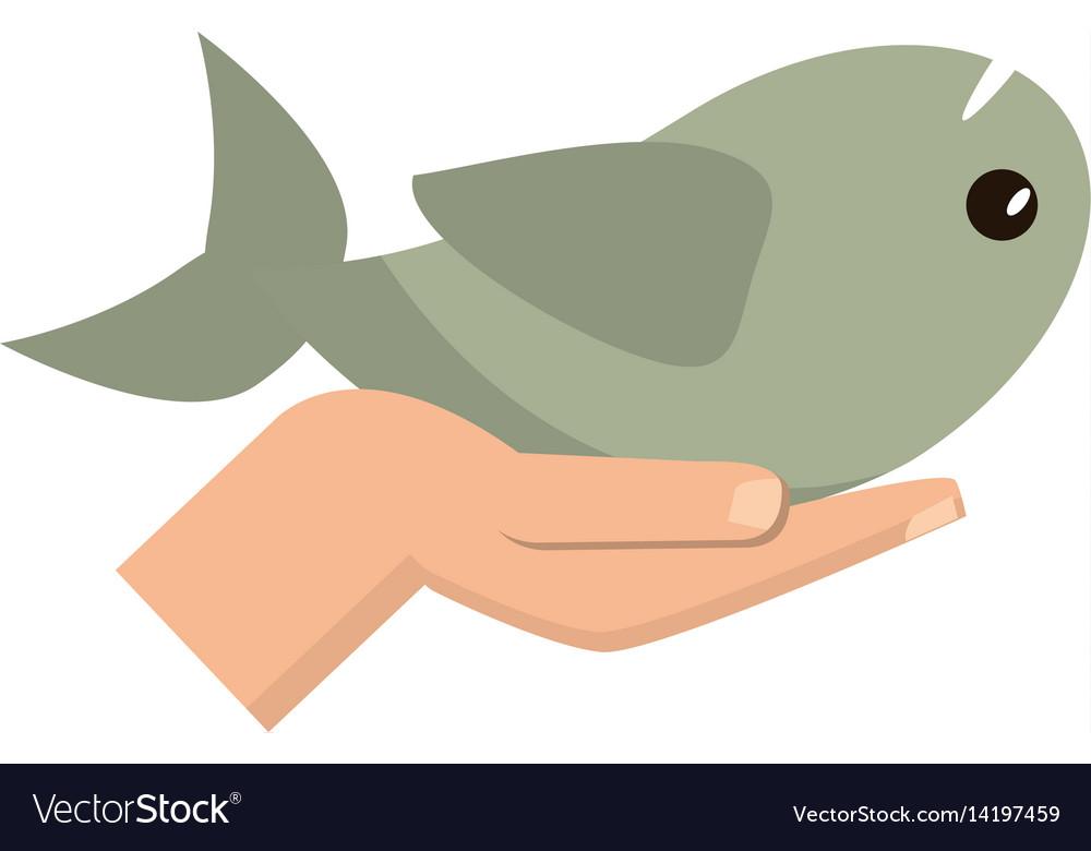 Hand Holding Fish Catholic Symbol Royalty Free Vector Image