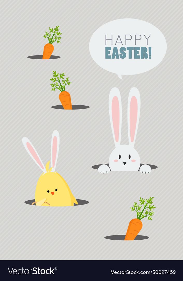Happy easter greeting card cute cartoon