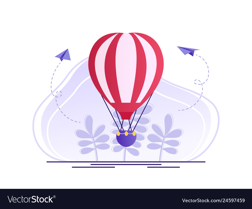 Hot air balloon with red and white stripes summer