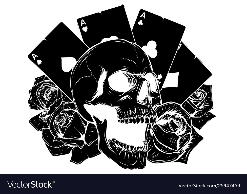 Motorcycle woman skull with playing