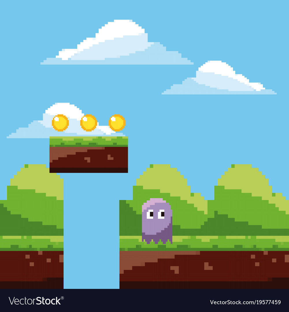 Pixel game ghost character coins landscape