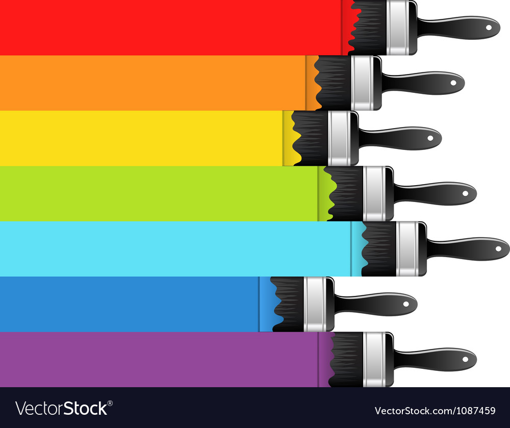 Rainbow background with brushes vector image