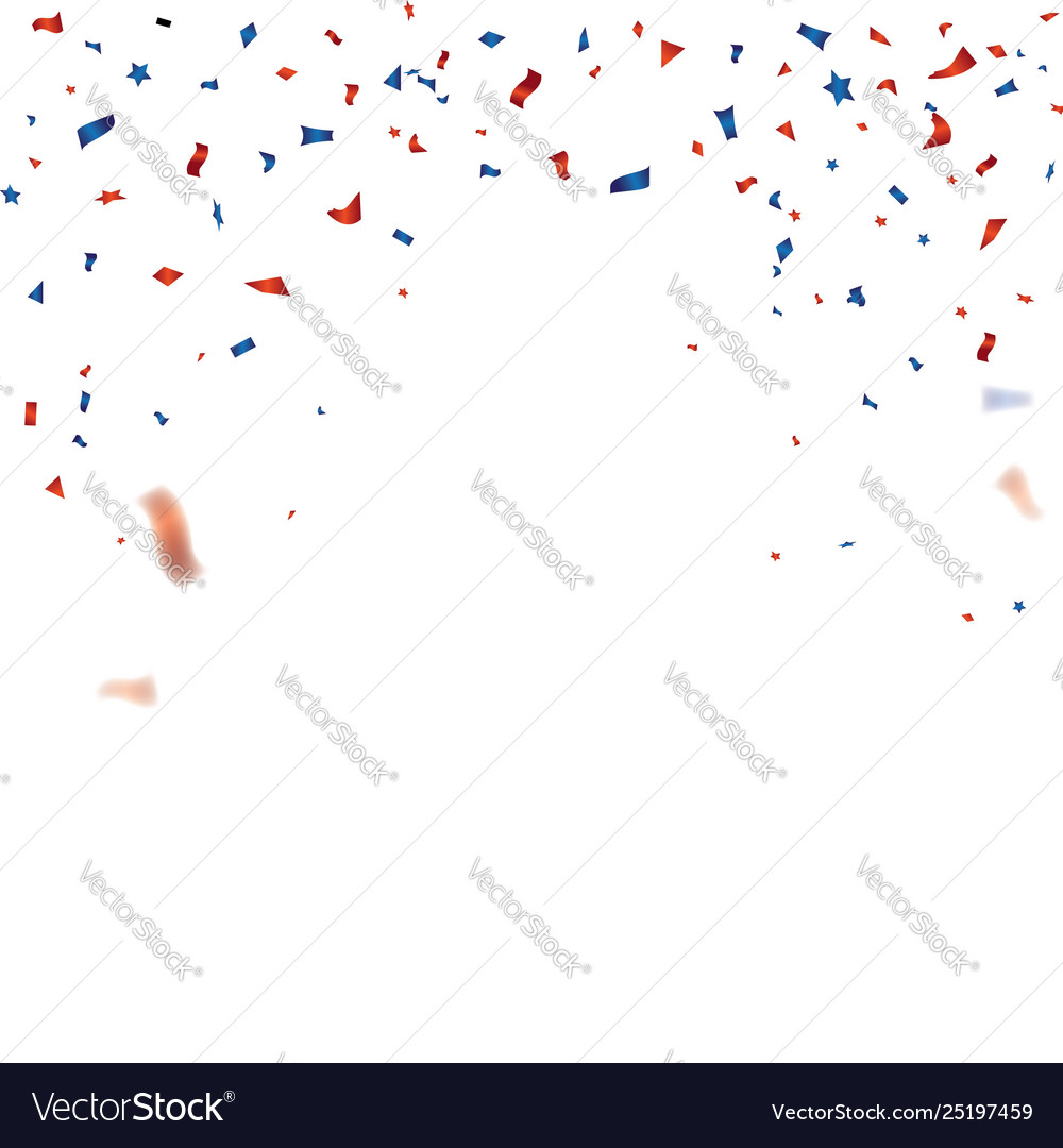 Red and blue confetti template for 4th july