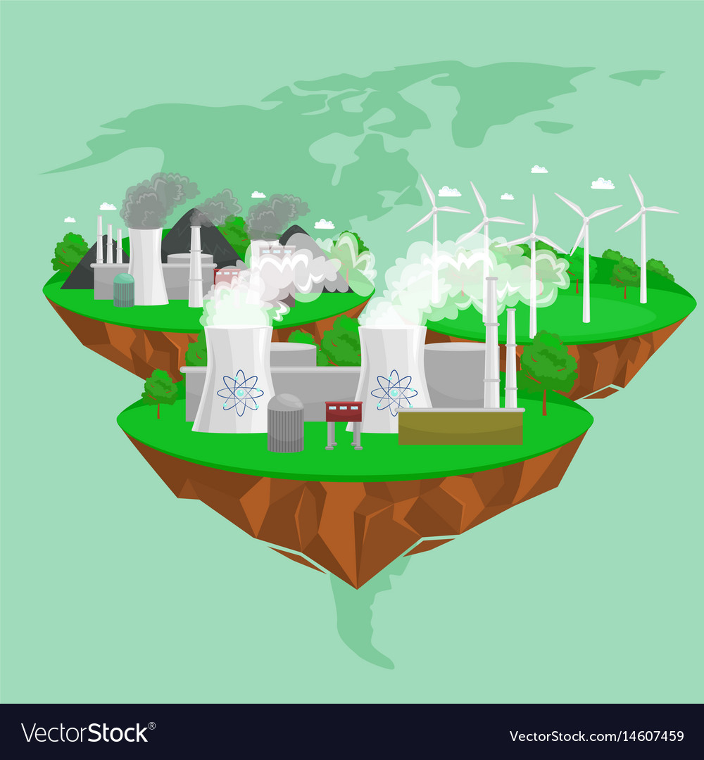 Renewable ecology energy icons green city power