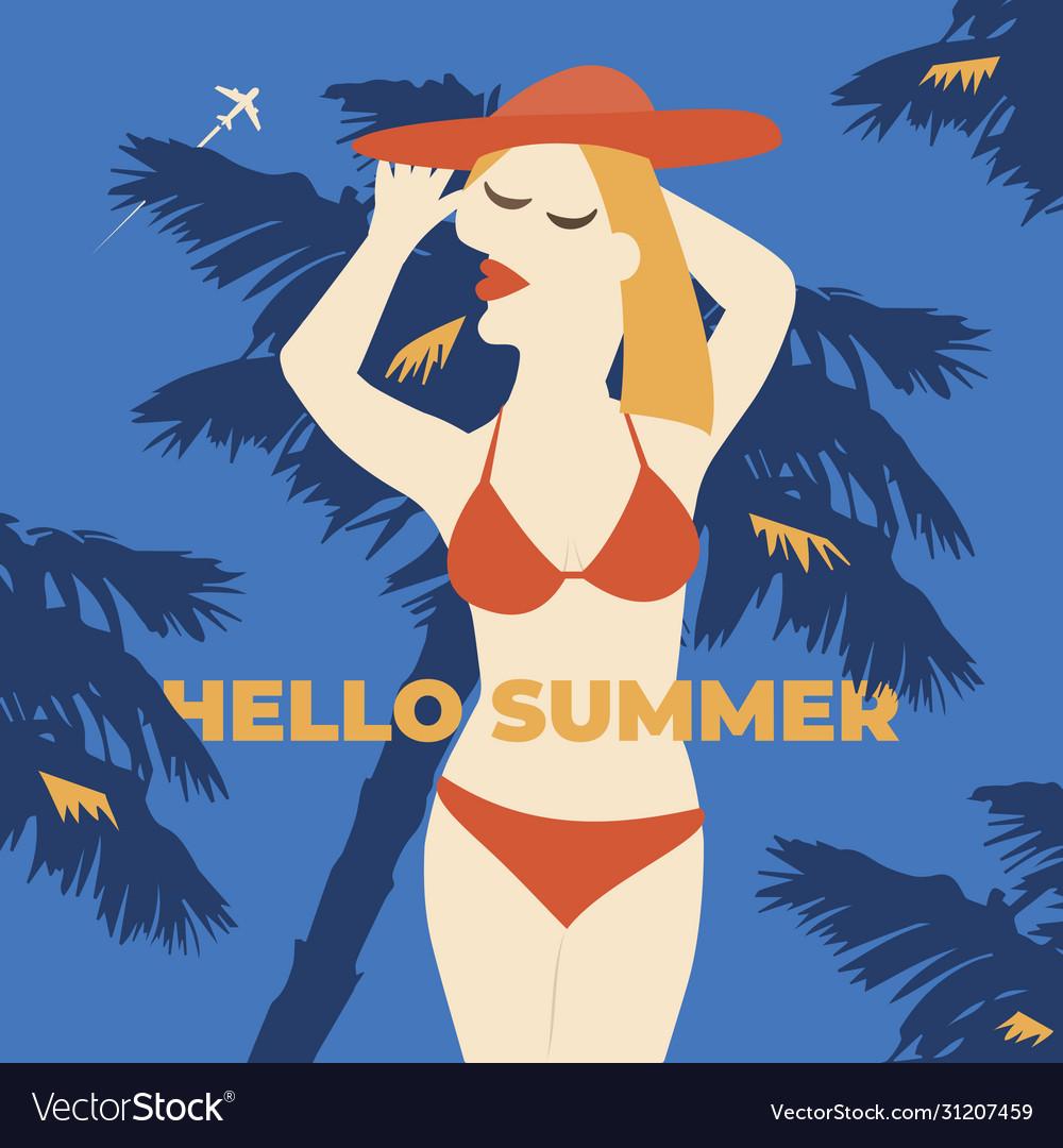 Summer girl poster vacation