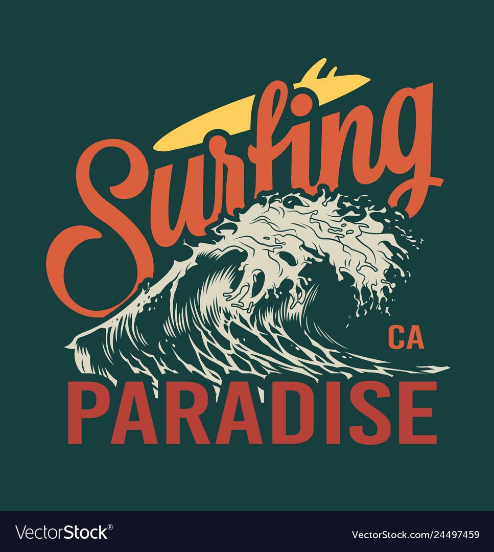 Vintage surfing time colorful emblem