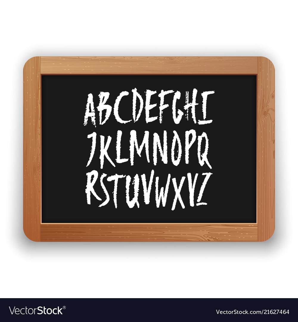 A to z uppercase letters on a blackboard