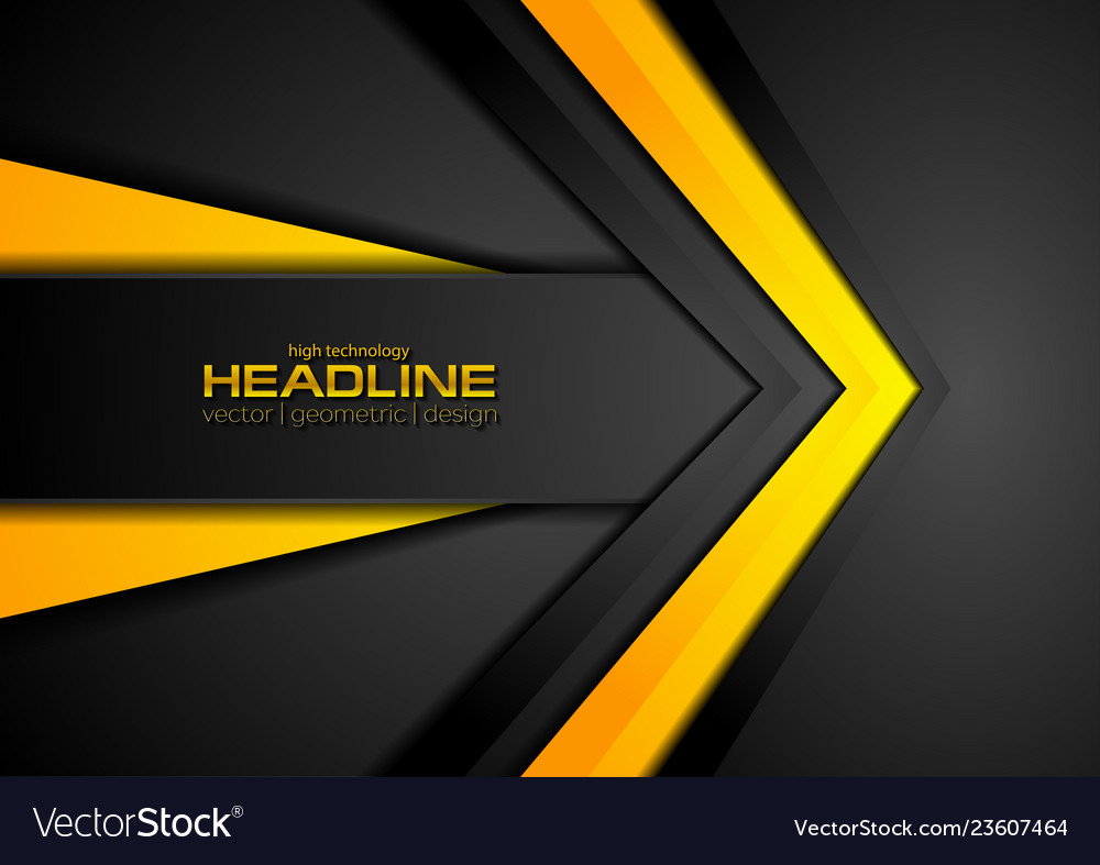 Abstract black orange corporate tech background
