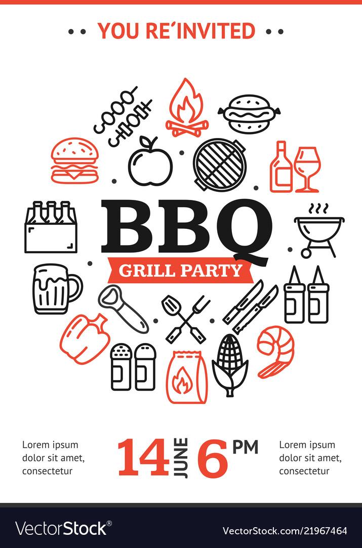 Bbq party invitation round design template