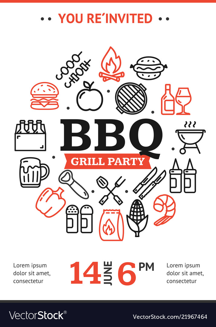 Bbq Party Invitation Round Design Template With