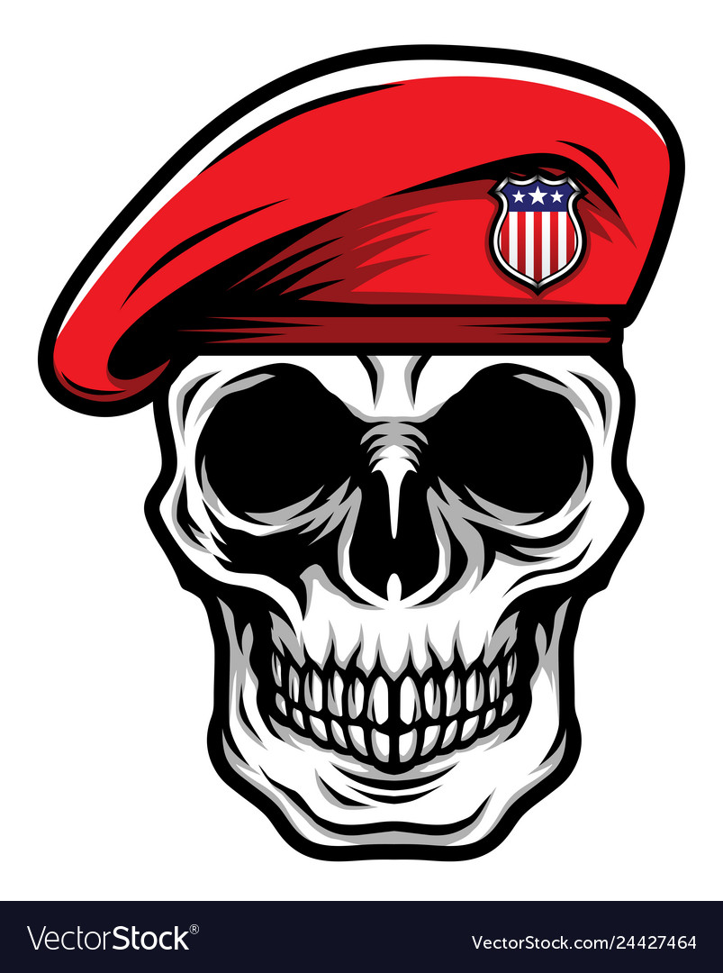 Detailed classic skull head wearing red military