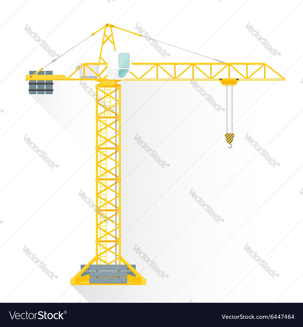 Flat style yellow tower building crane icon