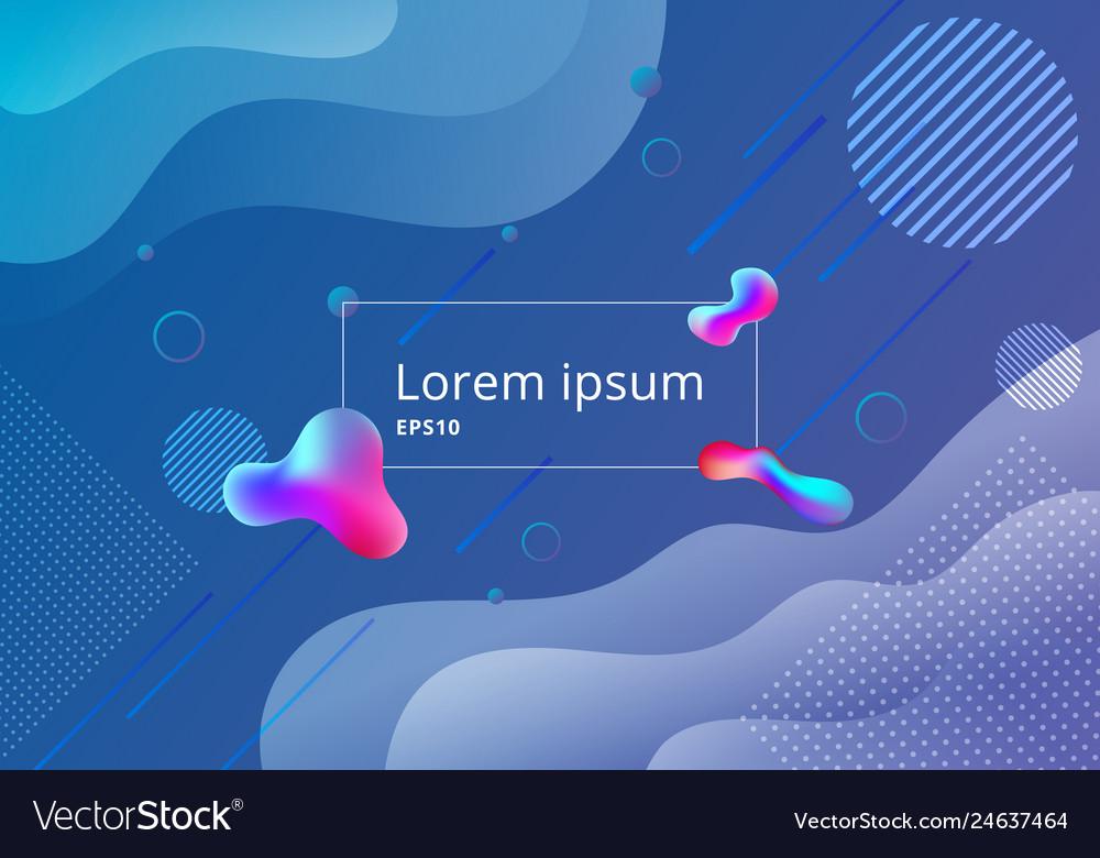 Fluid style gradient geometric shapes composition