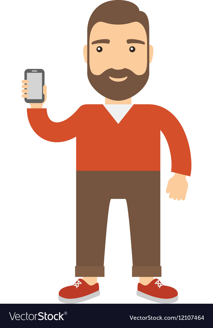 Man holds a cell phone