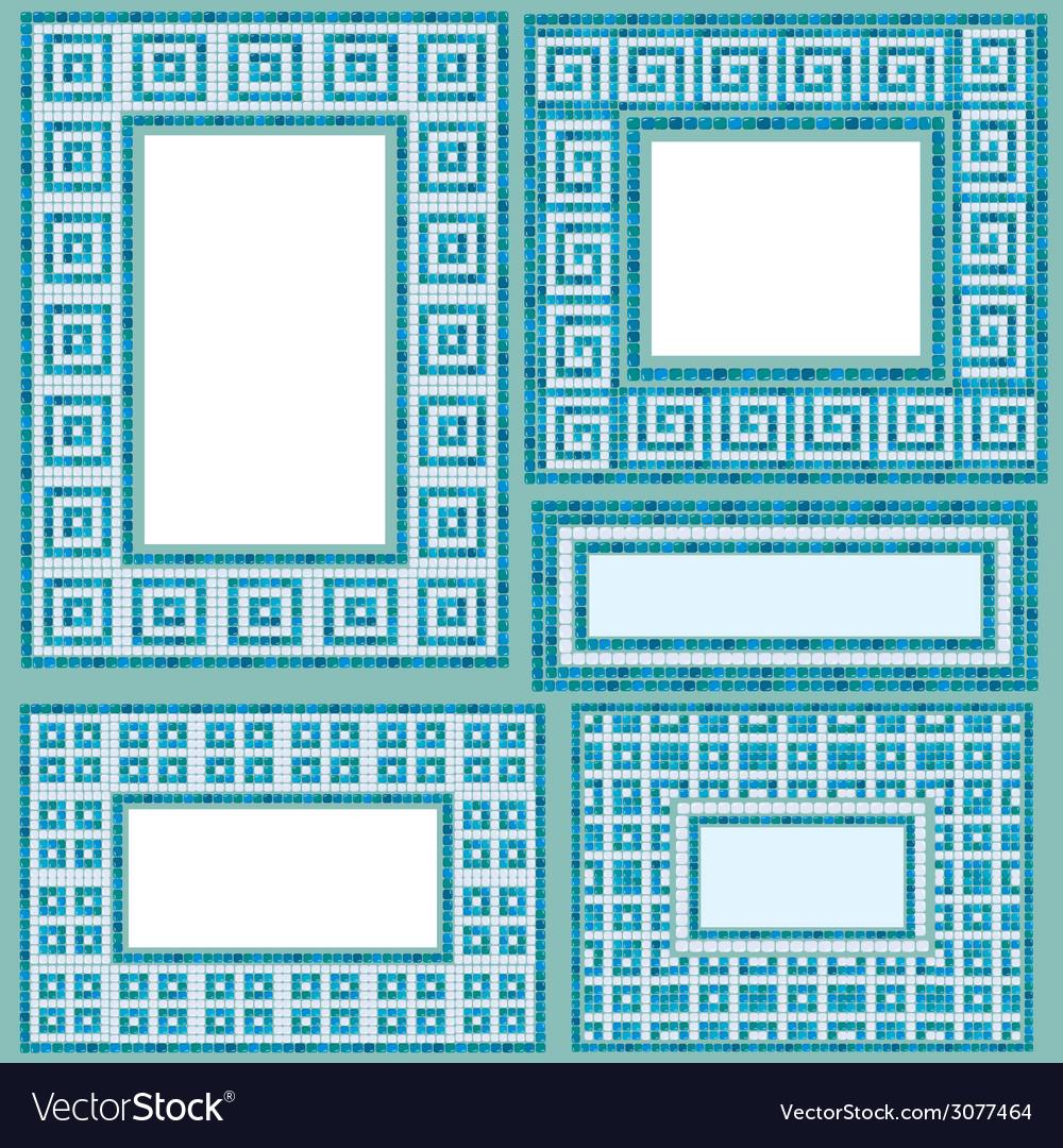 Mosaic frames set rect 380 Royalty Free Vector Image