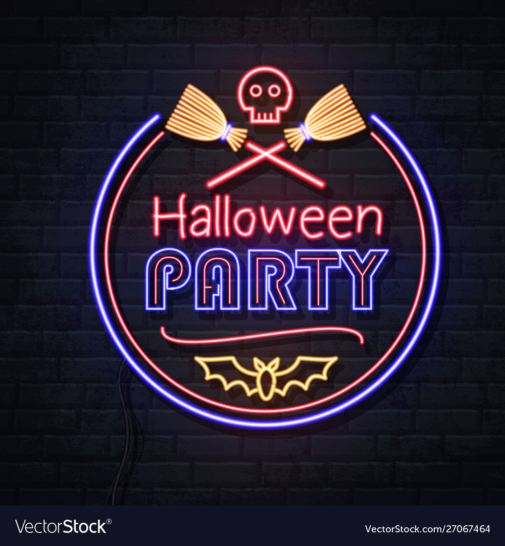 Neon sign halloween party with skull