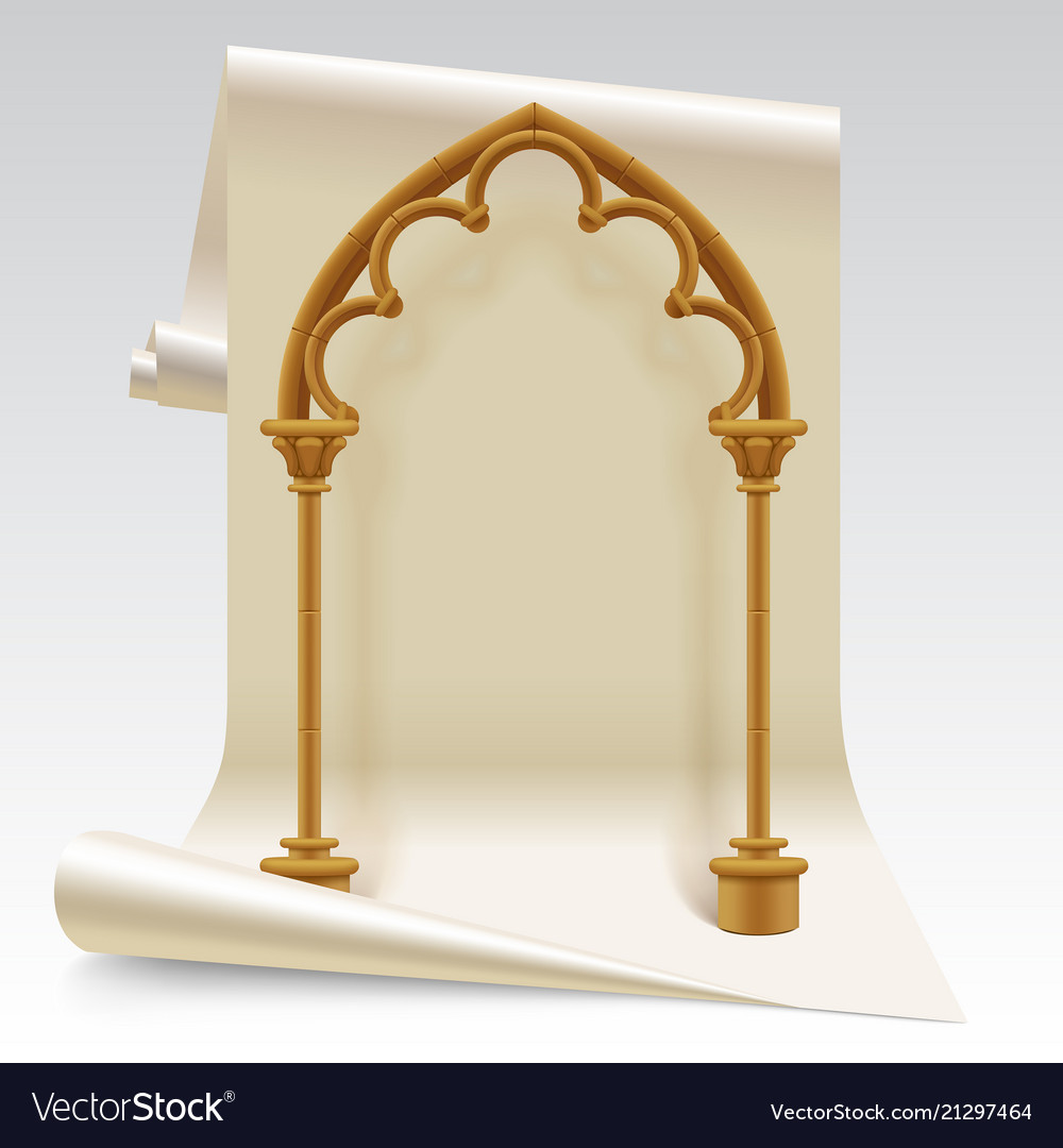 Paper Sheet And Brown Gothic Arch Model Royalty Free Vector