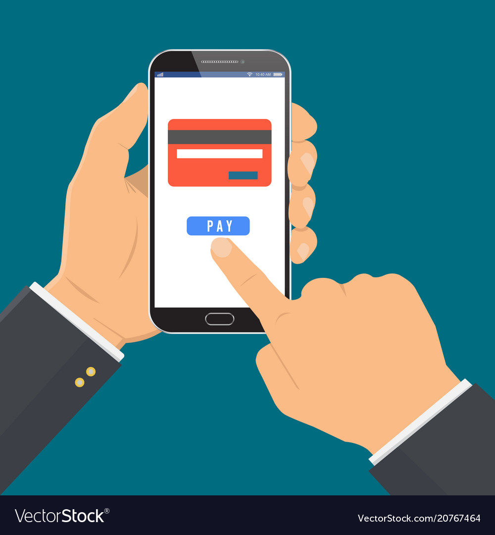 Payment page and credit card on smartphone screen
