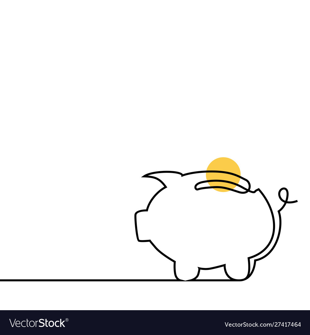 Piggy bank coin one line outline banner