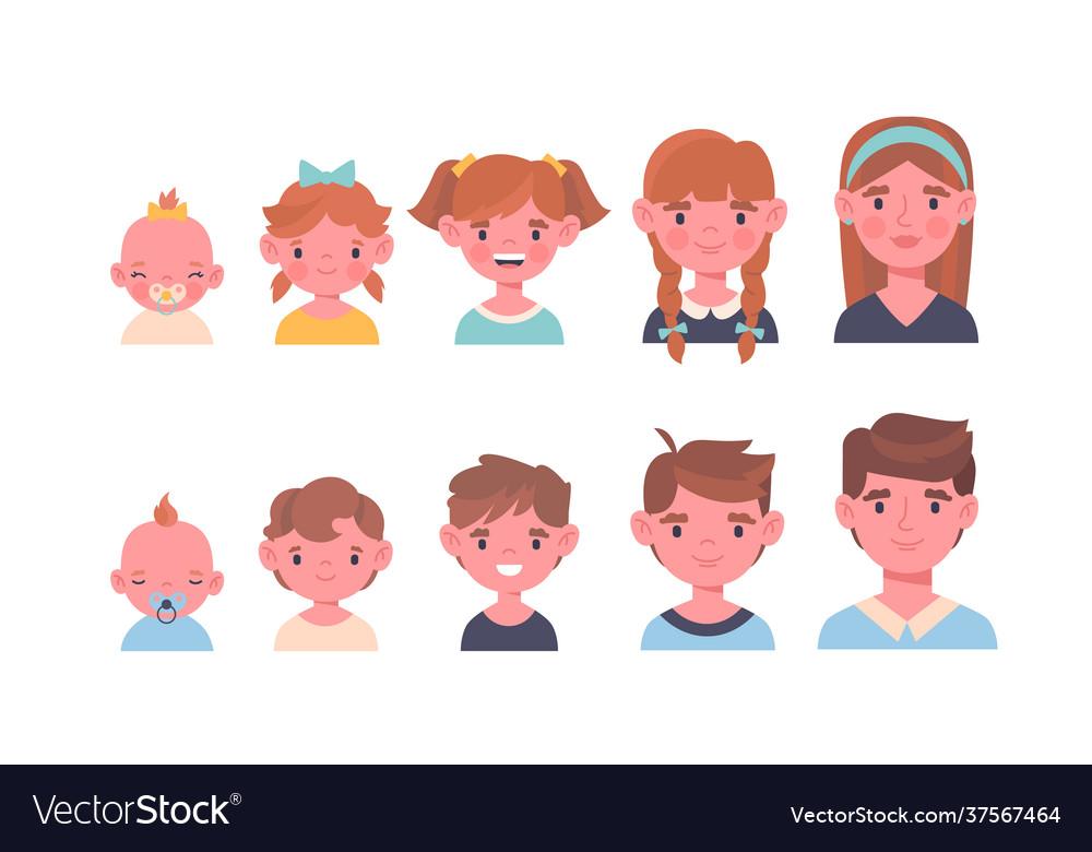 Portrait a children at different ages