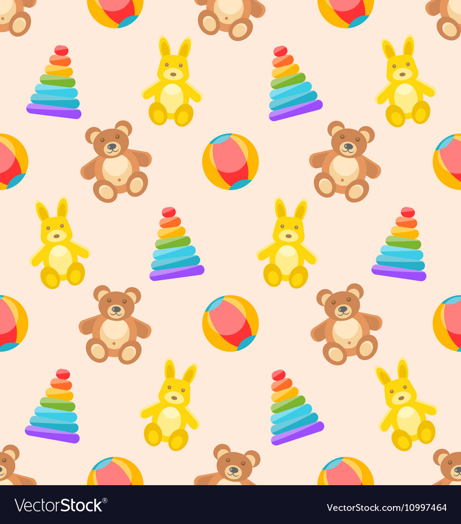 Seamless Pattern with Colorful Children Toys