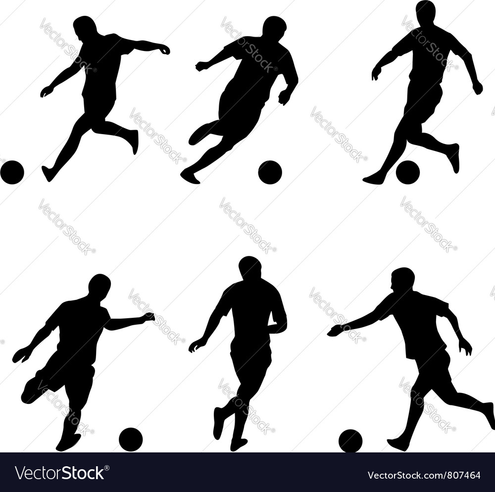 soccer football players silhouettes royalty free vector rh vectorstock com football player vector image football player vector free