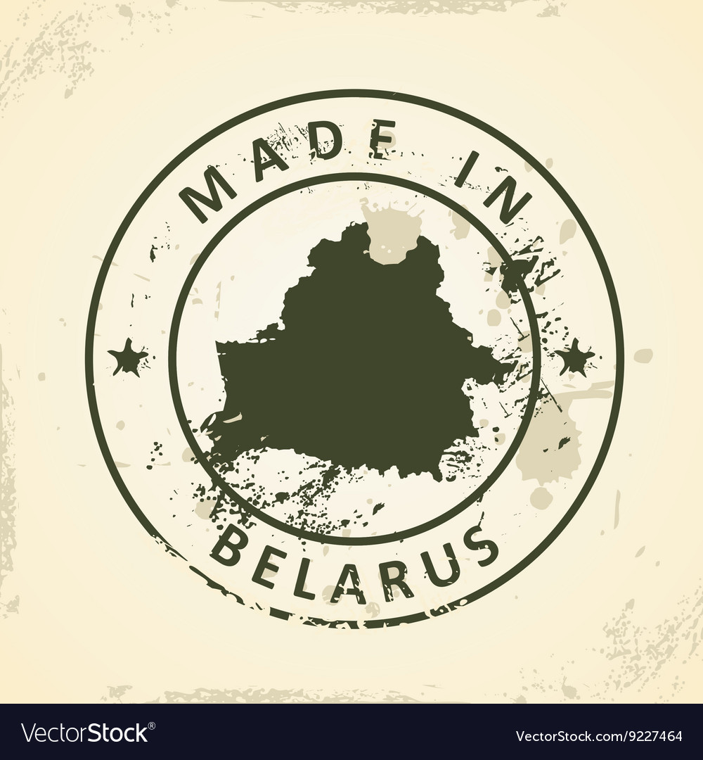 Stamp with map of Belarus