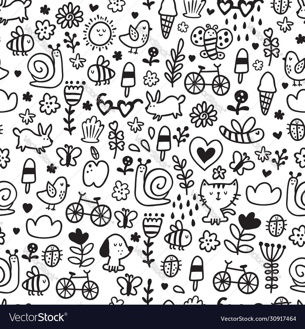 Summer doodles pattern