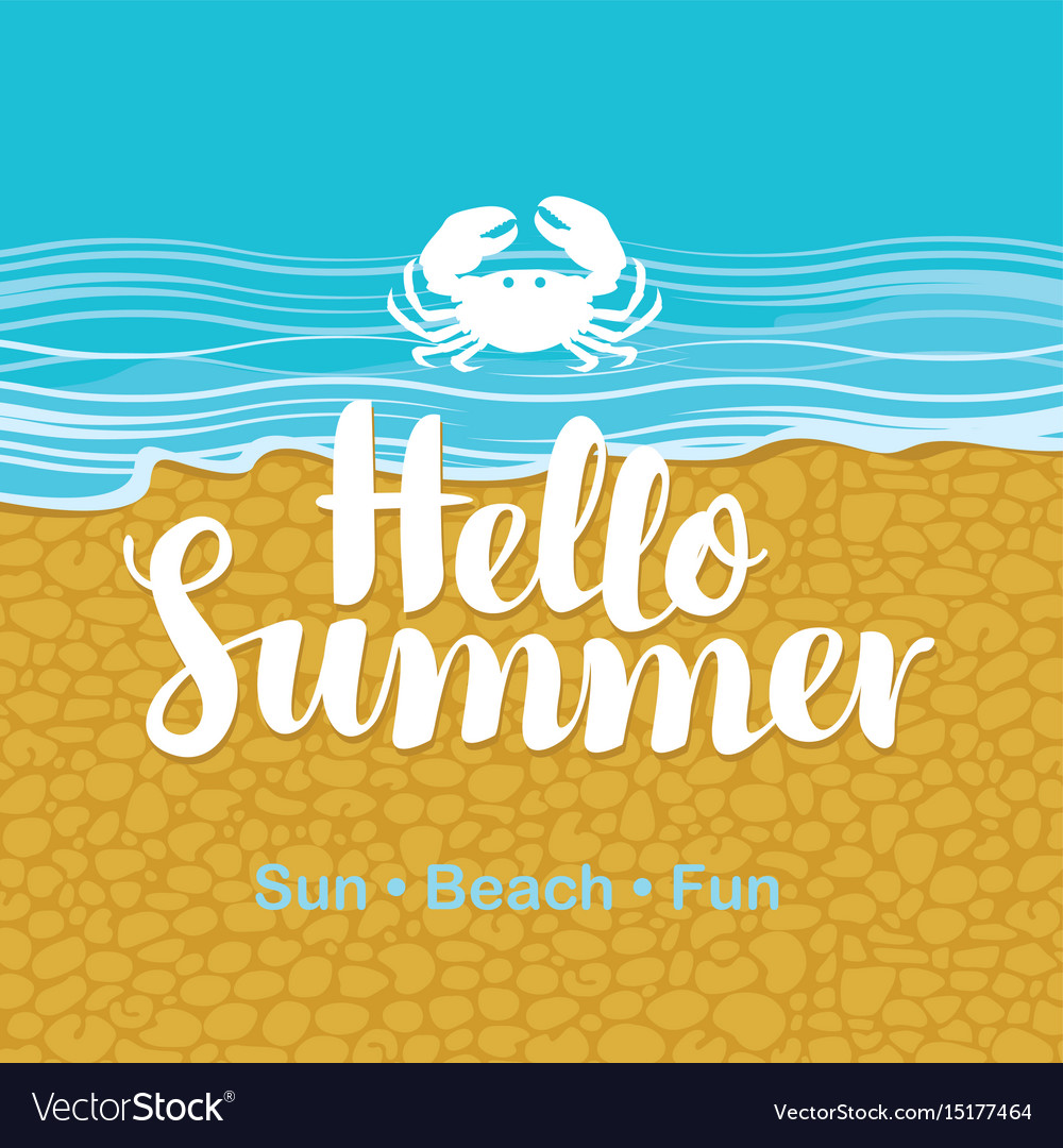 Travel banner with sea beach crab and text vector image
