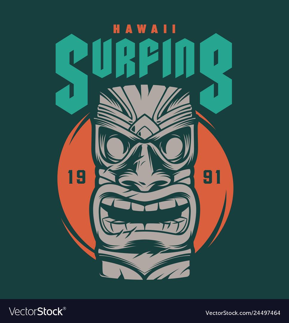 Vintage hawaii surfing print