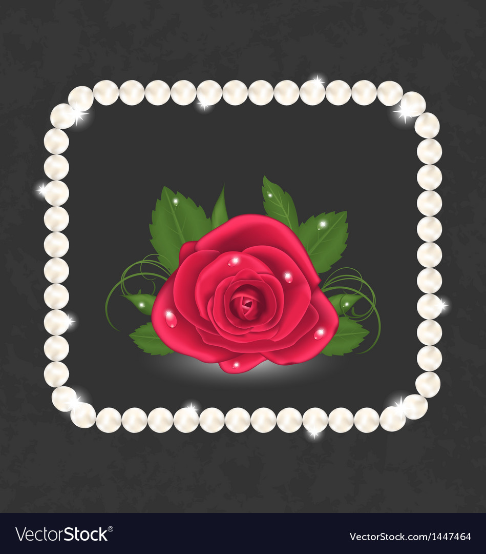 Vintage with red rose and pearls