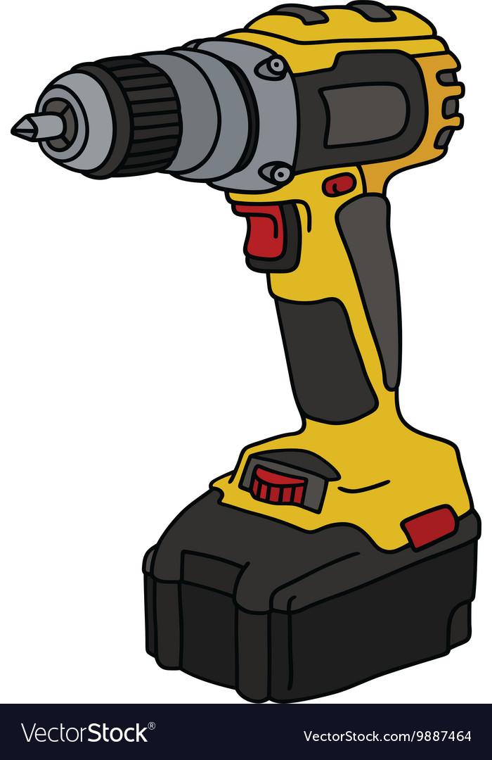 Yellow cordless screwdriver vector image