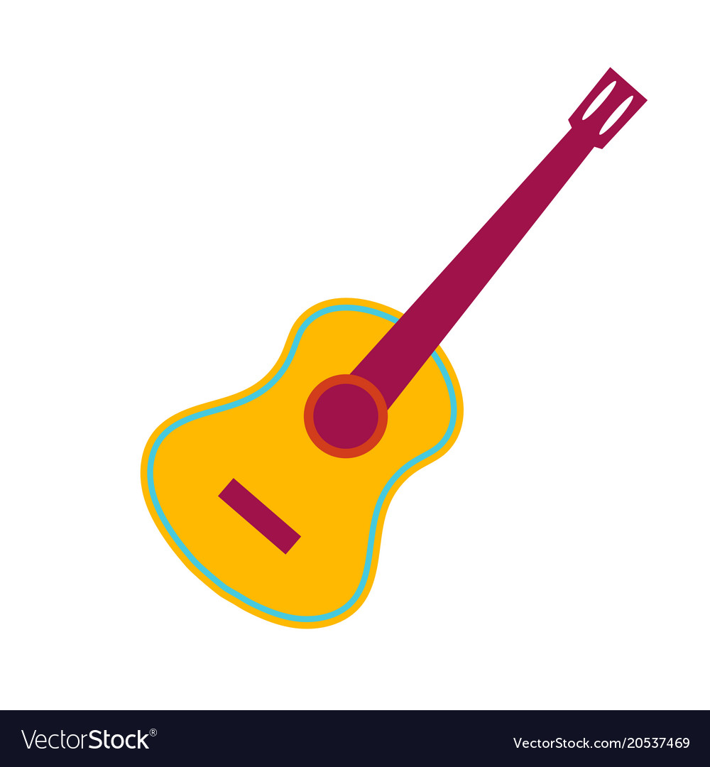 acoustic guitar flat royalty free vector image rh vectorstock com vector guitar pick vector guitar milwaukee wi review