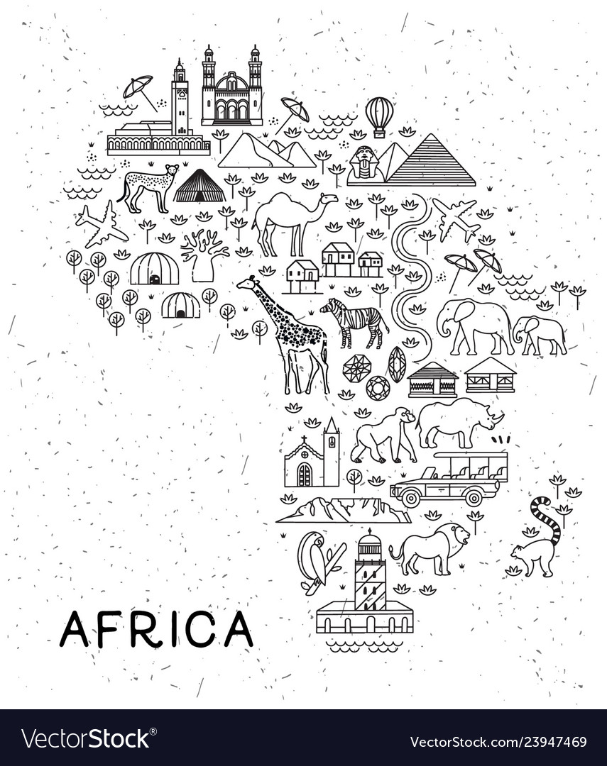 Africa travel line icons map travel poster