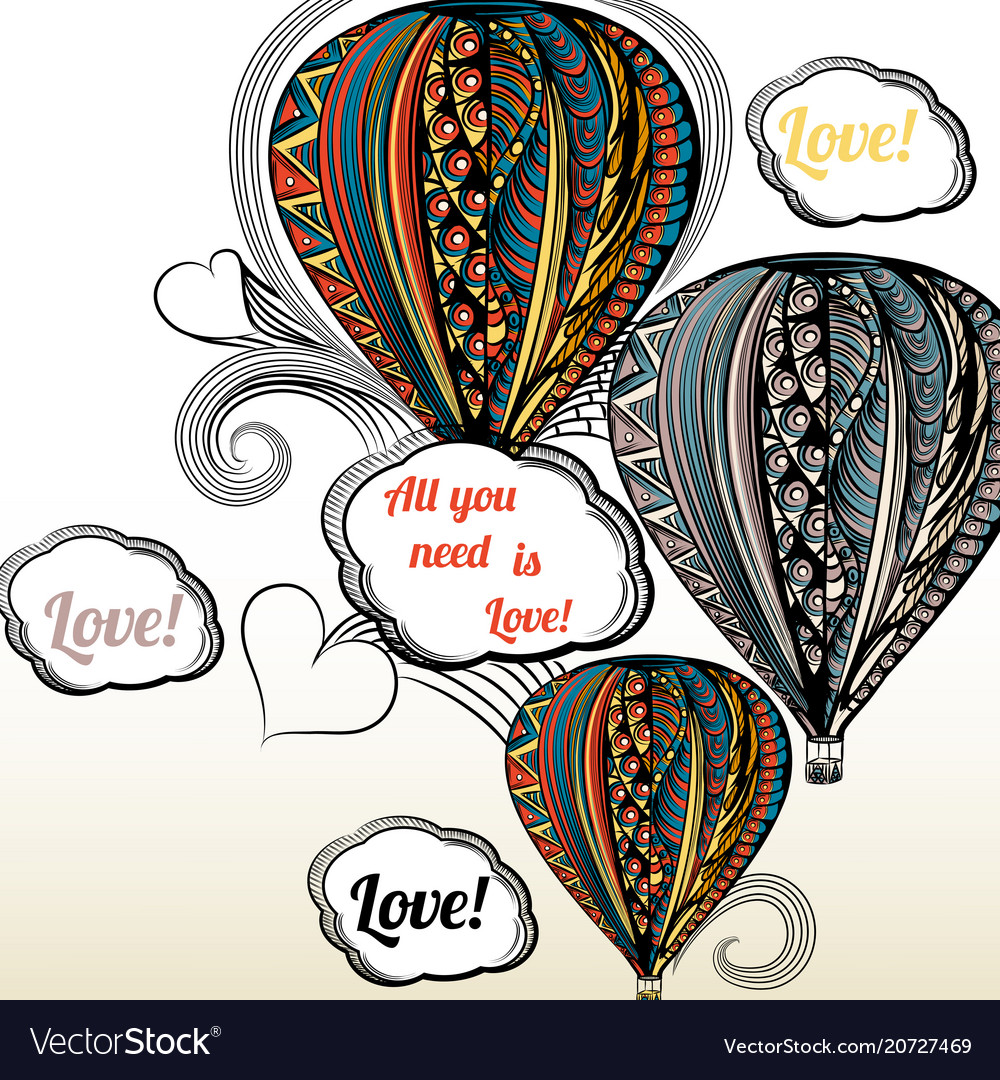 All you need is love air balloon with hippie vector image